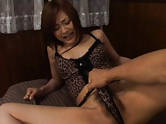 Suzuka Ishikawa in animal print lingerie has clitoris pinched