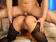 Minori Hatsune Asian gets cock pumping her holes in stockings