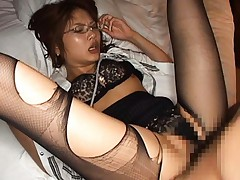 Aya Matsuki Asian with specs and broken nylon stockings gets cum