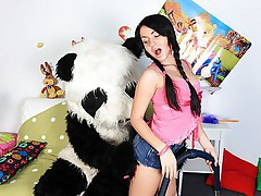 Huge panda owns girls by unusual sex toy