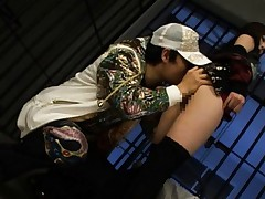 Yuu Asakura Asian has pussy licked by a dude behind the bars
