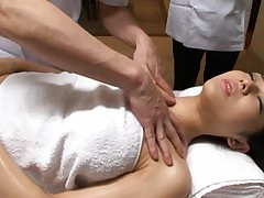 Sora Aoi Asian has nipples of her huge tits teased during massage