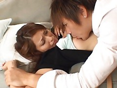 Nao Yoshizaki Asian has nipple sucked and clit rubbed over scanty