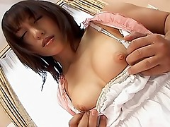 Naughty Japanese whore happily bends to show off her smooth shaved pussy