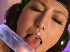 Julia Nanase Asian has all body stimulated with dildos and more