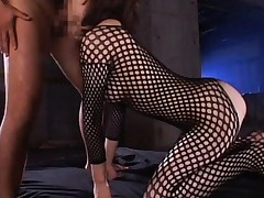 Maria Ozawa Asian with hole in fishnet suit giving hot blowjob