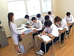 Horny Japanese teen gets her guys and fucks in the classroom after school