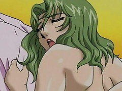 Voluptuous anime milf grips the sheets and screams in ecstasy