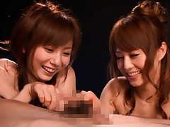 Akiho Yoshizawa with her girlfriend stroke dong and play with cum