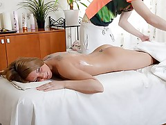 Tattooed chick gets fuck instead of massage