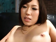 Tomoka Minami Asian in fishnet stockings gets dongs from behind