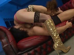 Yuma Asami Asian with glossy boots licks cock and is licked in 69