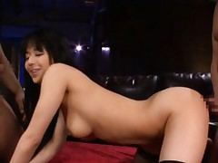 Sora Aoi Asian busty gets dick in mouth while gets other in slit
