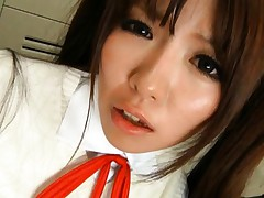 Miho Imamura Asian with very long hair has sexy belly licked