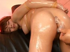 Tina Yuzuki rammed hard in her hairy pussy getting it spread like it should be