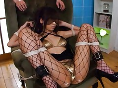 Saki Ayano Asian with fishnet stockings has vibrator in nooky