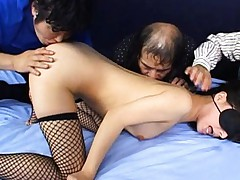 Yuka Osawa Asian in fishnet stockings is licked on cunt by hunks