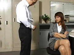 Akira Shiratori hot secretary rubs her clit and boobs on clothes