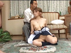 Risa Tsukino Asian has to suck two boners right from the pants