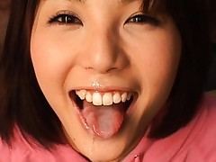 Azumi Harusaki sticks out her tongue to taste his sperm