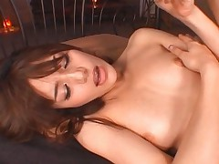 Tina Yuzuki moans while finger fucked by man and plays with her perky tits