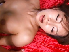 Akina Asian cupcake with racy tits is nailed well on red blanket