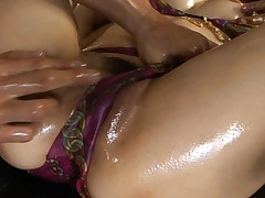 Akari Satsuki Gets shaved pussy oiled and fingered in gangbang