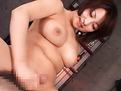 Japanese AV Model with big cans strokes cock close to her beaver