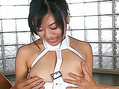 Hot Japanese slut gets her pussy pounded hard by her two horny dates
