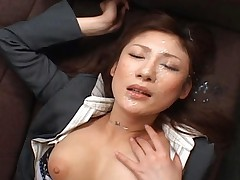 Natsu Ando performs a hot bukkake scene as a sexy secretary
