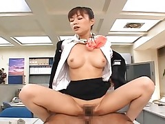 Yua Aida having sex at the office with her skirt around her waist