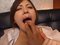 Miyuki Yokoyama sits with legs spread and black stockings ripped