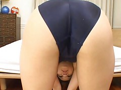 Risa Tsukino Asian in spandex gym outfit is very flexible and hot