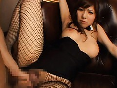 Harumi Asano Asian busty is screwed through fishnet stockings