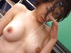 Japanese AV Model gets lots of sperm on face from one huge penis
