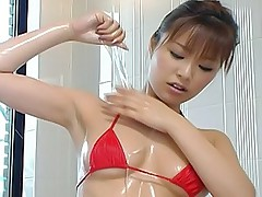 Naughty Asian tramp lubes up to finger her juicy pussy for fun