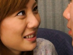 Yuma Asami Asian with short skirt starts to fool around with hunk