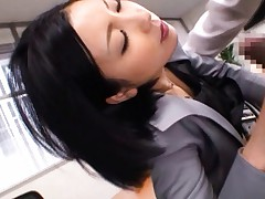 Ryo Sena Asian sucks and rubs one huge boner in office uniform
