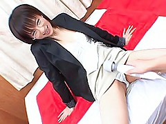 Japanese cutie has a big pussy vibrator her guy is playing with in her pussy