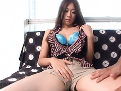 Risa Misaki Asian is touched over blue bra and sexy short pants