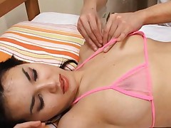 Maria Ozawa Asian has sexy body in lingerie getting acupuncture