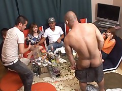 Nasty Asian tramps get loaded and have a huge fuck and suck party