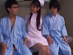 Japanese AV Model nurse making the dongs of two patients erect