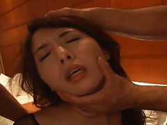 Yuka Osawa her fishnet suit is torn apart and she sucks cock