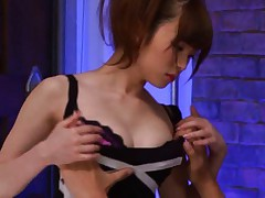 Miku Ohashi Asian is undressed of black dress to have tits sucked