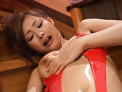Suzuka Ishikawa with lotion all over body rubs hairy slit in red