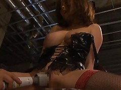 Rio Hamasaki Asian with huge melons in corset gets big vibrator