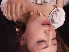 Akiho Yoshizawa gets cum on face right from dick she just sucked