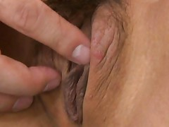 Chika Ishihara Asian with open legs has clit stimulated by finger