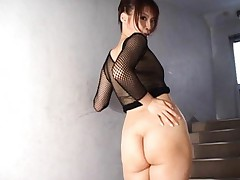 Rin Asian nymphet in fishnet blouse takes thong off on stairs